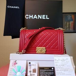 Chanel boy red lambskin gold hw bag w receipt